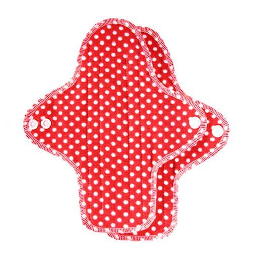 Ellas Stoffslipeinlagen aus reiner Biobaumwolle - rot mit weißen Punkten
